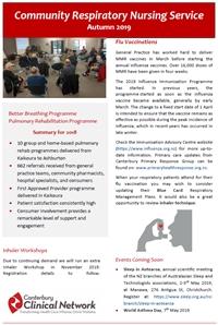 Autumn Community Respiratory Nursing Service newsletter