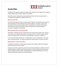 Acute Plan Info Sheet for Clinicians