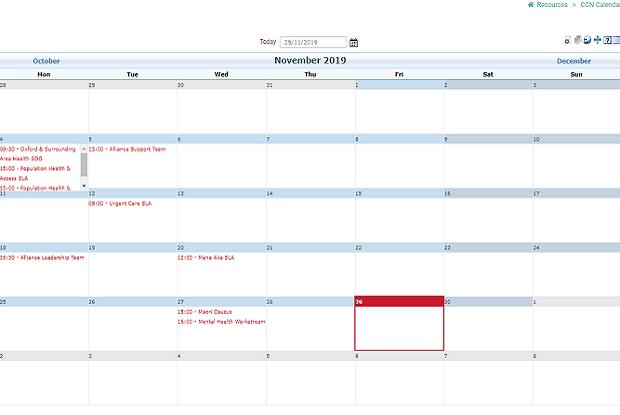 Meeting calendar