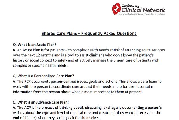 Shared Care Plans