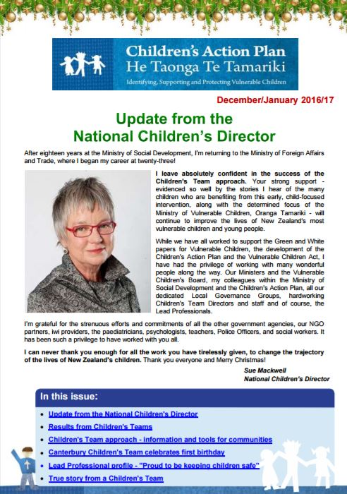 Latest Children's Action Plan newsletter