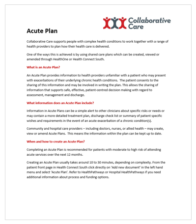 Acute Plan Info Sheet for Clinicians