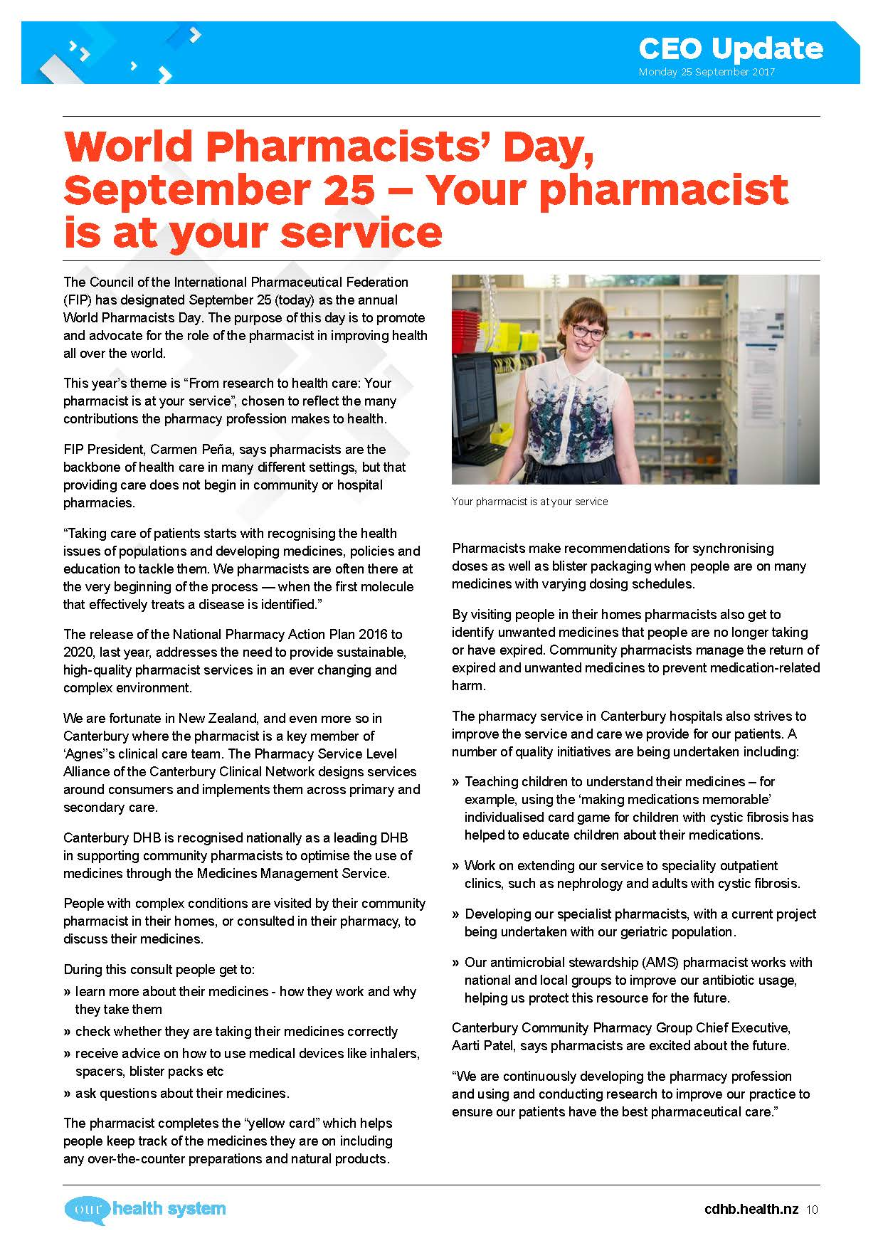 Work of pharmacists showcased in Canterbury District Health Board magazine