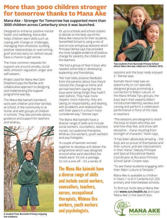 Mana Ake featured in WellNow magazine