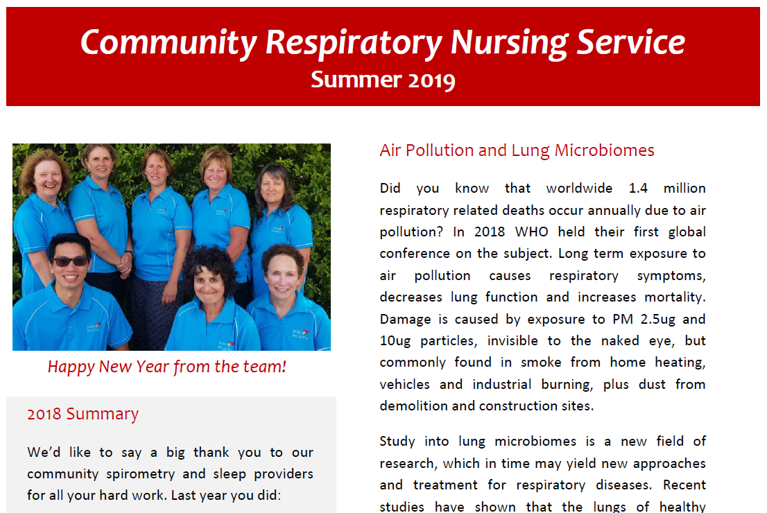 Community Respiratory Nursing Service - summer newsletter