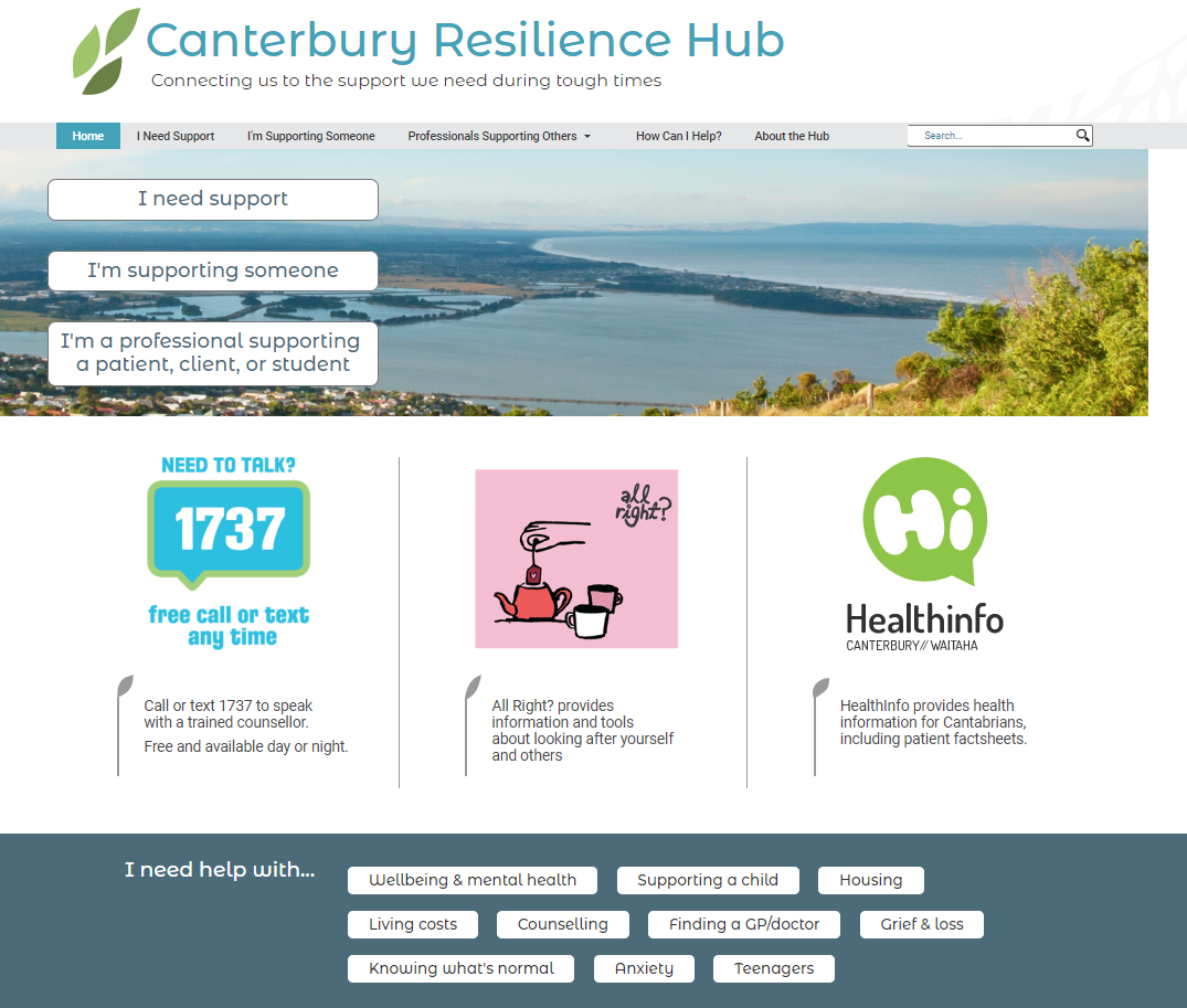 Canterbury Resilience Hub, a new website for post-disaster support